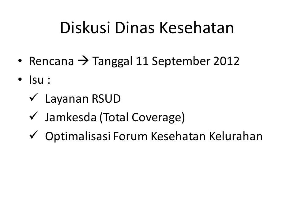 Diskusi Dinas Kesehatan Rencana  Tanggal 11 September 2012 Isu : Layanan RSUD Jamkesda (Total Coverage) Optimalisasi Forum Kesehatan Kelurahan