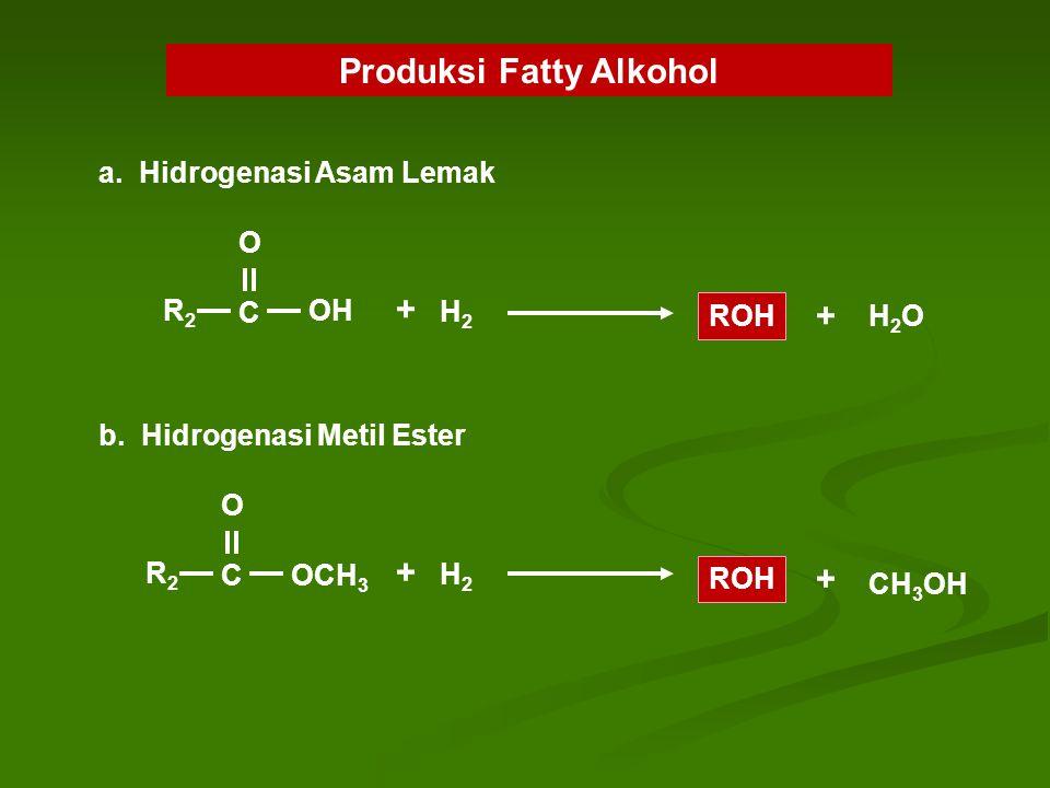 Produksi Fatty Alkohol R2R2 C OH O + H2H2 ROH + H2OH2O a. Hidrogenasi Asam Lemak R2R2 C OCH 3 O + H2H2 ROH + CH 3 OH b. Hidrogenasi Metil Ester
