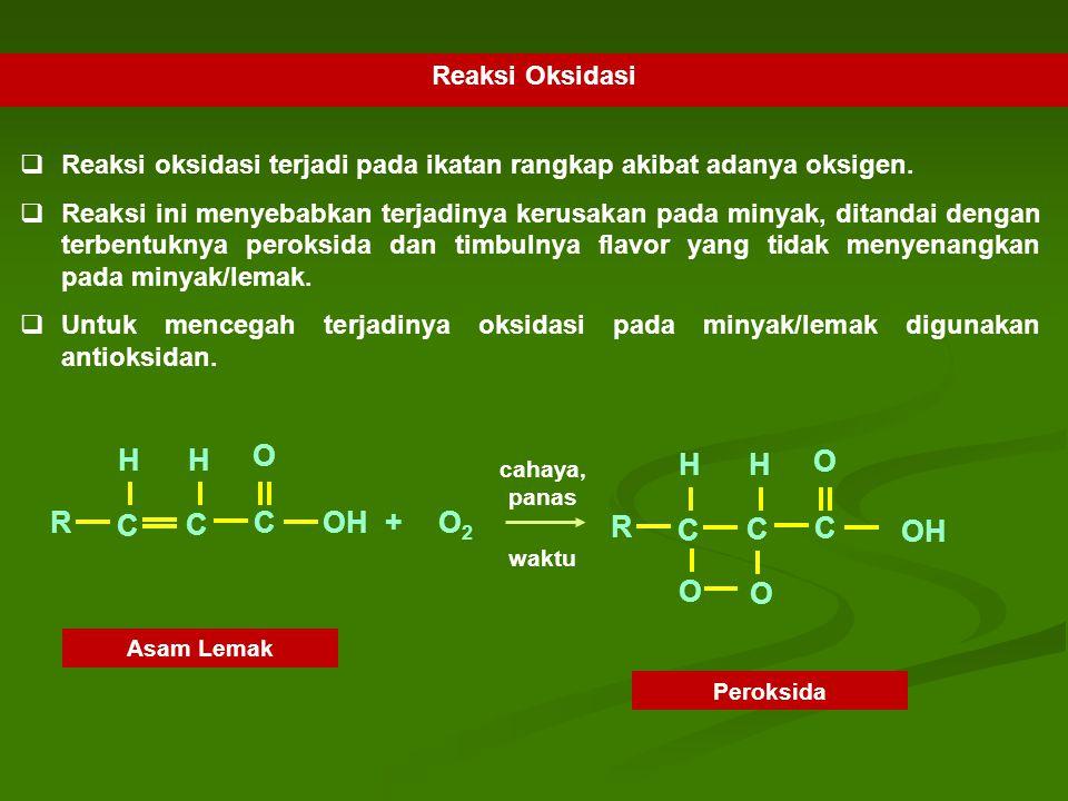 Reaksi Oksidasi  Reaksi oksidasi terjadi pada ikatan rangkap akibat adanya oksigen.  Reaksi ini menyebabkan terjadinya kerusakan pada minyak, ditand