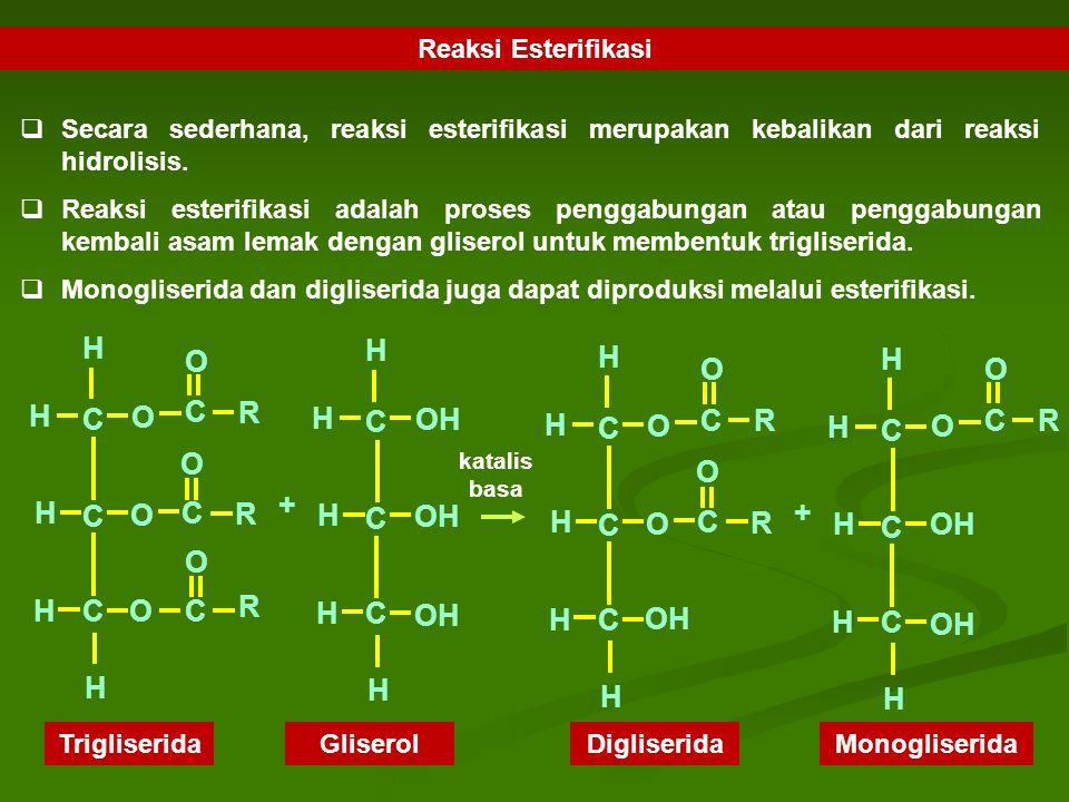 Reaksi Esterifikasi  Secara sederhana, reaksi esterifikasi merupakan kebalikan dari reaksi hidrolisis.  Reaksi esterifikasi adalah proses penggabung