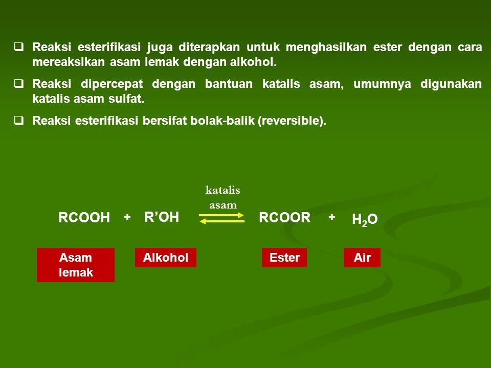 Reaksi esterifikasi juga diterapkan untuk menghasilkan ester dengan cara mereaksikan asam lemak dengan alkohol.  Reaksi dipercepat dengan bantuan k