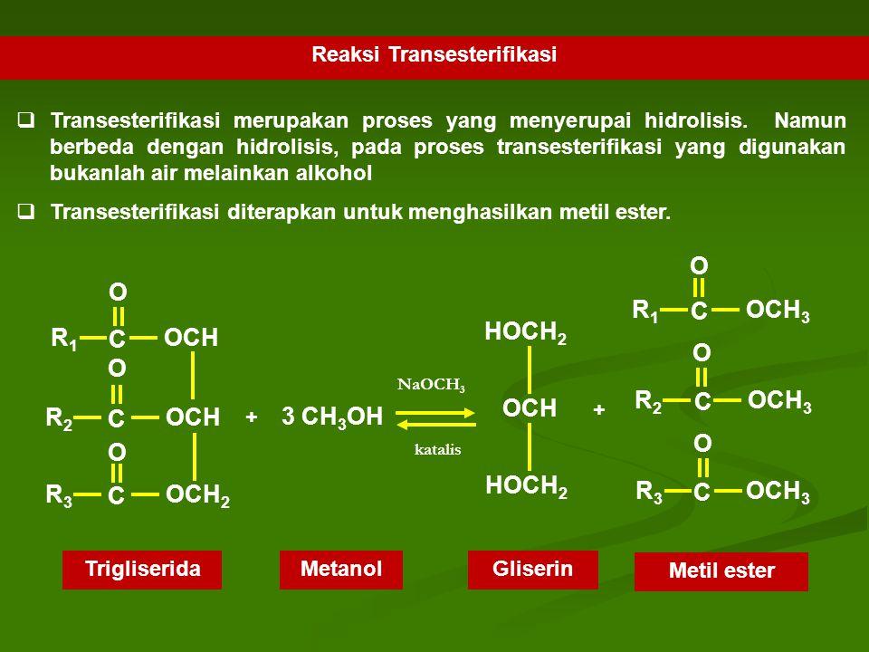 Reaksi Transesterifikasi  Transesterifikasi merupakan proses yang menyerupai hidrolisis. Namun berbeda dengan hidrolisis, pada proses transesterifika