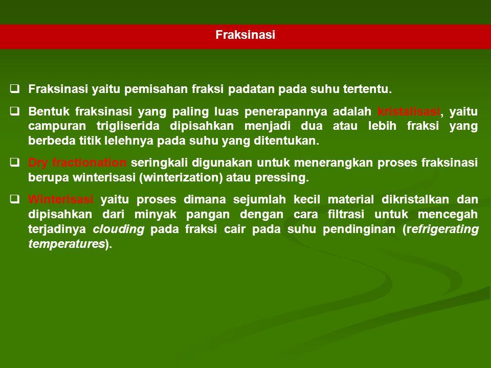 Fraksinasi  Fraksinasi yaitu pemisahan fraksi padatan pada suhu tertentu.