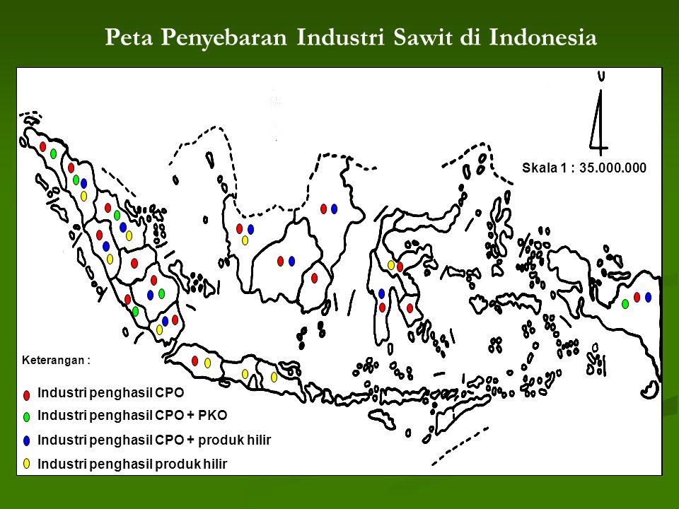 Peta Penyebaran Industri Sawit di Indonesia Skala 1 : 35.000.000 Keterangan : Industri penghasil CPO Industri penghasil CPO + PKO Industri penghasil CPO + produk hilir Industri penghasil produk hilir