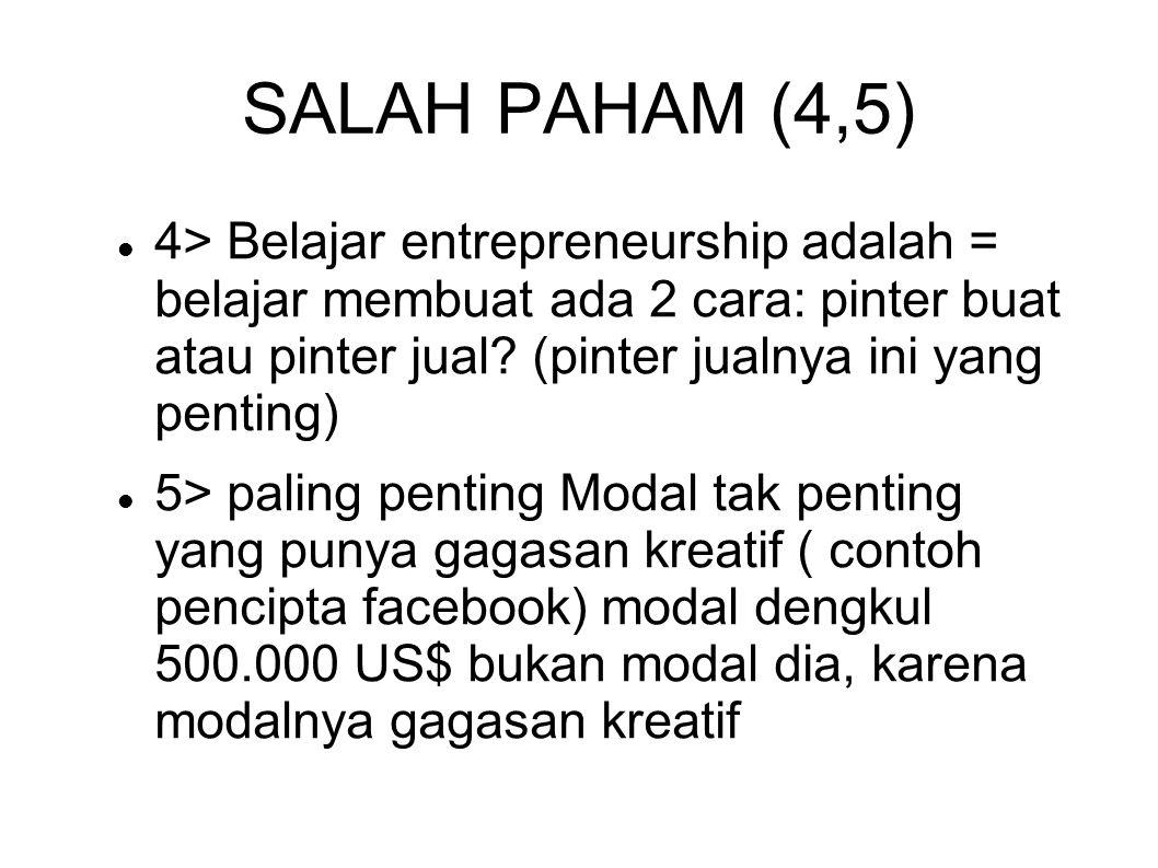 SALAH PAHAM (4,5) 4> Belajar entrepreneurship adalah = belajar membuat ada 2 cara: pinter buat atau pinter jual? (pinter jualnya ini yang penting) 5>