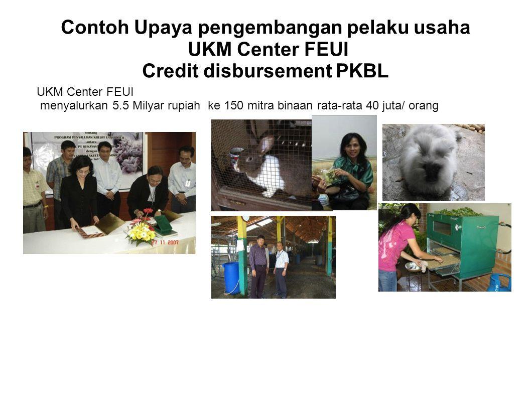 Contoh Upaya pengembangan pelaku usaha UKM Center FEUI Credit disbursement PKBL UKM Center FEUI menyalurkan 5.5 Milyar rupiah ke 150 mitra binaan rata