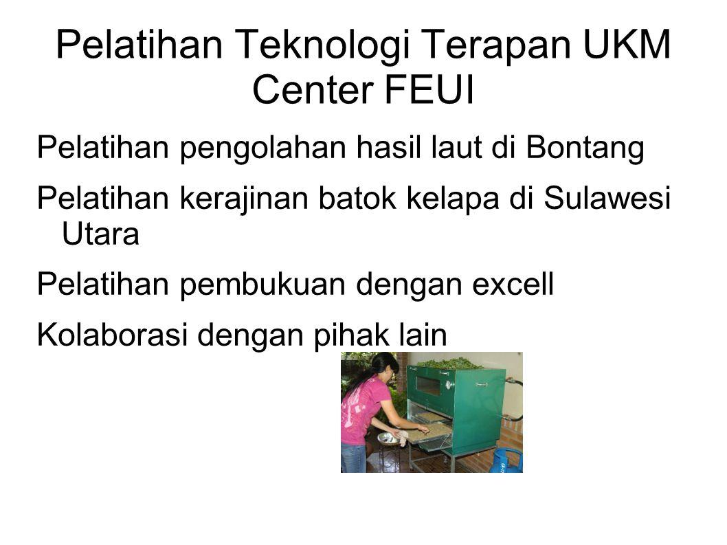 Pelatihan Teknologi Terapan UKM Center FEUI Pelatihan pengolahan hasil laut di Bontang Pelatihan kerajinan batok kelapa di Sulawesi Utara Pelatihan pe
