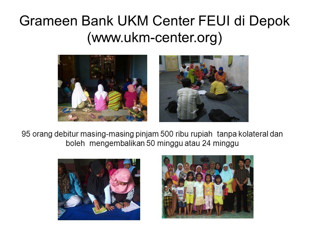 Grameen Bank UKM Center FEUI di Depok (www.ukm-center.org) 95 orang debitur masing-masing pinjam 500 ribu rupiah tanpa kolateral dan boleh mengembalik