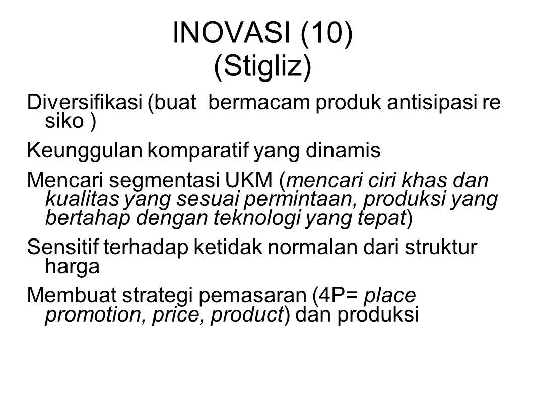 INOVASI (10) (Stigliz) Diversifikasi (buat bermacam produk antisipasi re siko ) Keunggulan komparatif yang dinamis Mencari segmentasi UKM (mencari cir