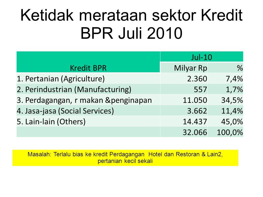 Ketidak merataan sektor Kredit BPR Juli 2010 Kredit BPR Jul-10 Milyar Rp% 1. Pertanian (Agriculture)2.3607,4% 2. Perindustrian (Manufacturing)5571,7%