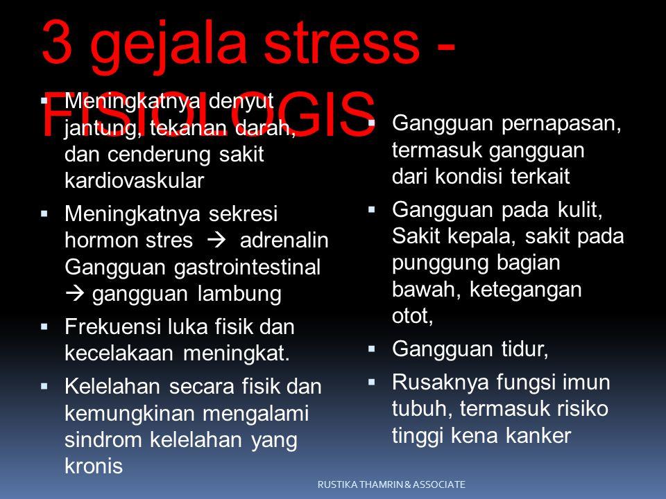 3 gejala stress - FISIOLOGIS  Meningkatnya denyut jantung, tekanan darah, dan cenderung sakit kardiovaskular  Meningkatnya sekresi hormon stres  ad