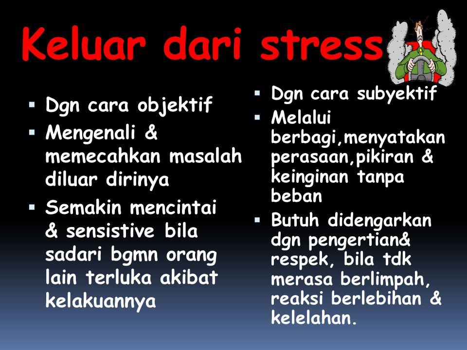 Keluar dari stress  Dgn cara objektif  Mengenali & memecahkan masalah diluar dirinya  Semakin mencintai & sensistive bila sadari bgmn orang lain te