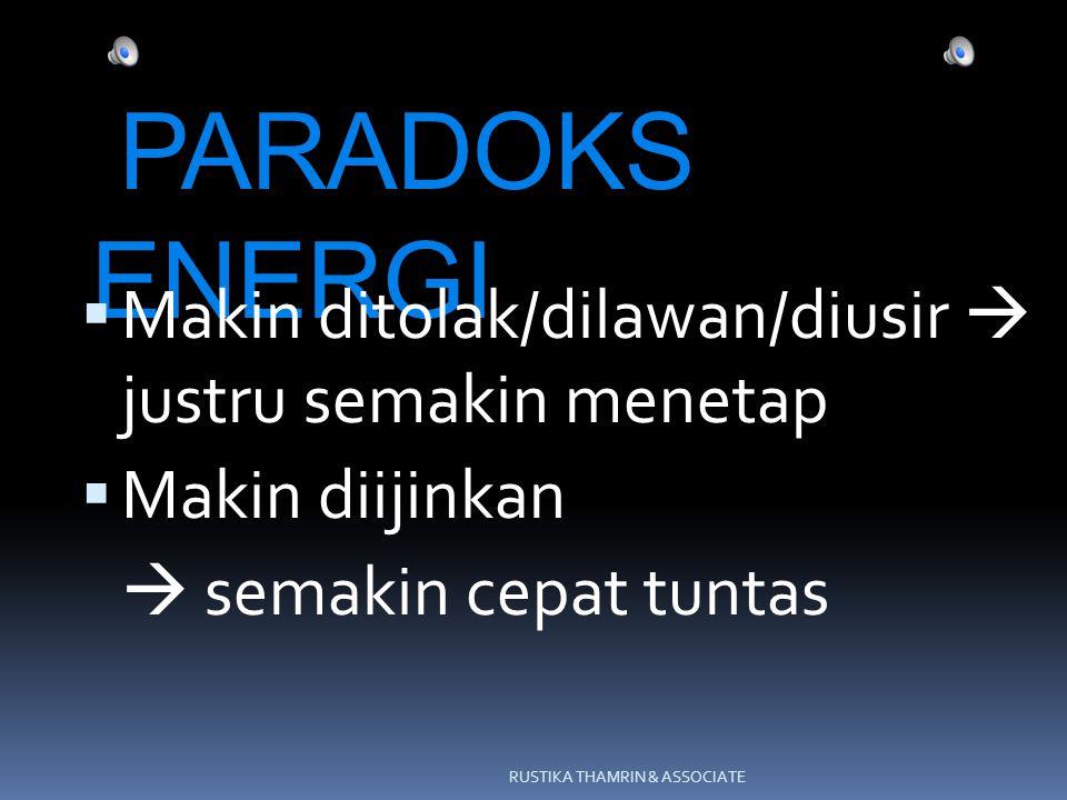 PARADOKS ENERGI  Makin ditolak/dilawan/diusir  justru semakin menetap  Makin diijinkan  semakin cepat tuntas