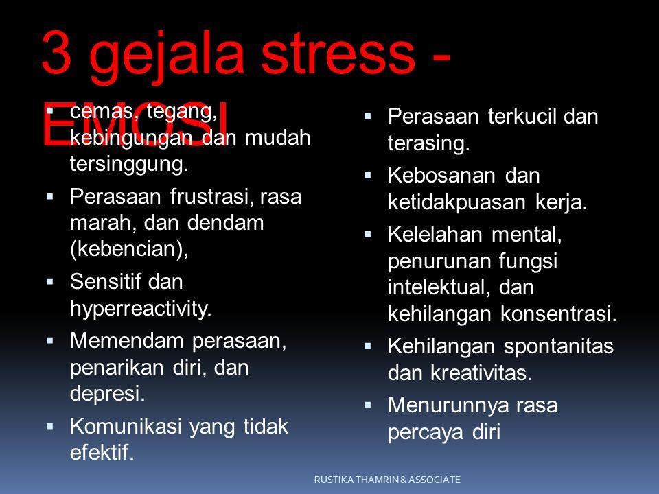 3 gejala stress - EMOSI  cemas, tegang, kebingungan dan mudah tersinggung.  Perasaan frustrasi, rasa marah, dan dendam (kebencian),  Sensitif dan h