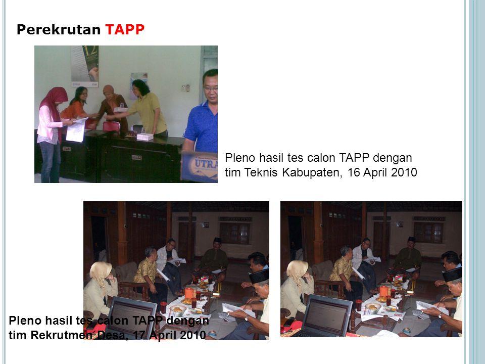 Perekrutan TAPP Pleno hasil tes calon TAPP dengan tim Teknis Kabupaten, 16 April 2010 Pleno hasil tes calon TAPP dengan tim Rekrutmen Desa, 17 April 2