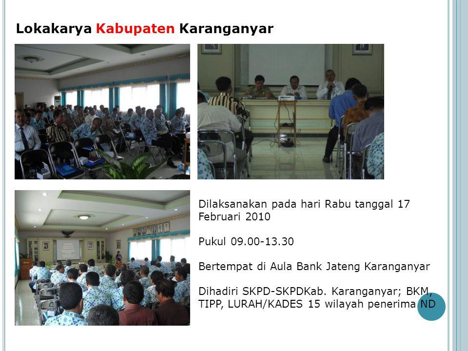 Lokakarya Kabupaten Karanganyar Dilaksanakan pada hari Rabu tanggal 17 Februari 2010 Pukul 09.00-13.30 Bertempat di Aula Bank Jateng Karanganyar Dihad