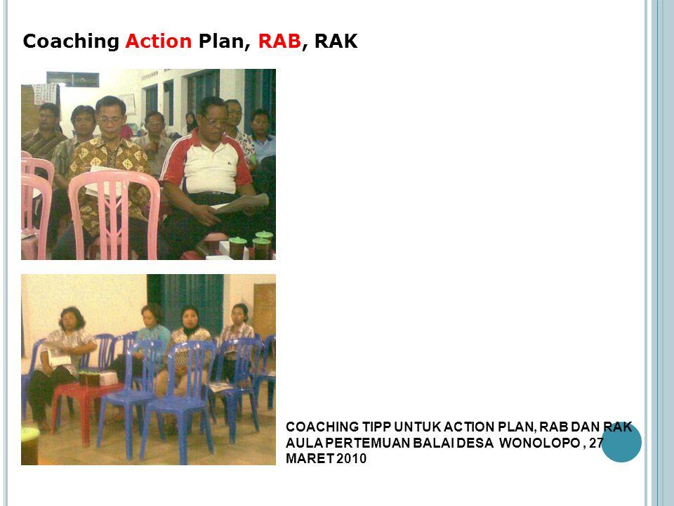 Coaching Action Plan, RAB, RAK COACHING TIPP UNTUK ACTION PLAN, RAB DAN RAK AULA PERTEMUAN BALAI DESA WONOLOPO, 27 MARET 2010