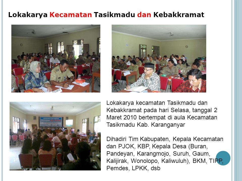 Lokakarya Kecamatan Tasikmadu dan Kebakkramat Lokakarya kecamatan Tasikmadu dan Kebakkramat pada hari Selasa, tanggal 2 Maret 2010 bertempat di aula K