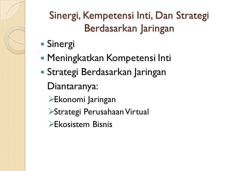Sinergi, Kempetensi Inti, Dan Strategi Berdasarkan Jaringan Sinergi Meningkatkan Kompetensi Inti Strategi Berdasarkan Jaringan Diantaranya:  Ekonomi