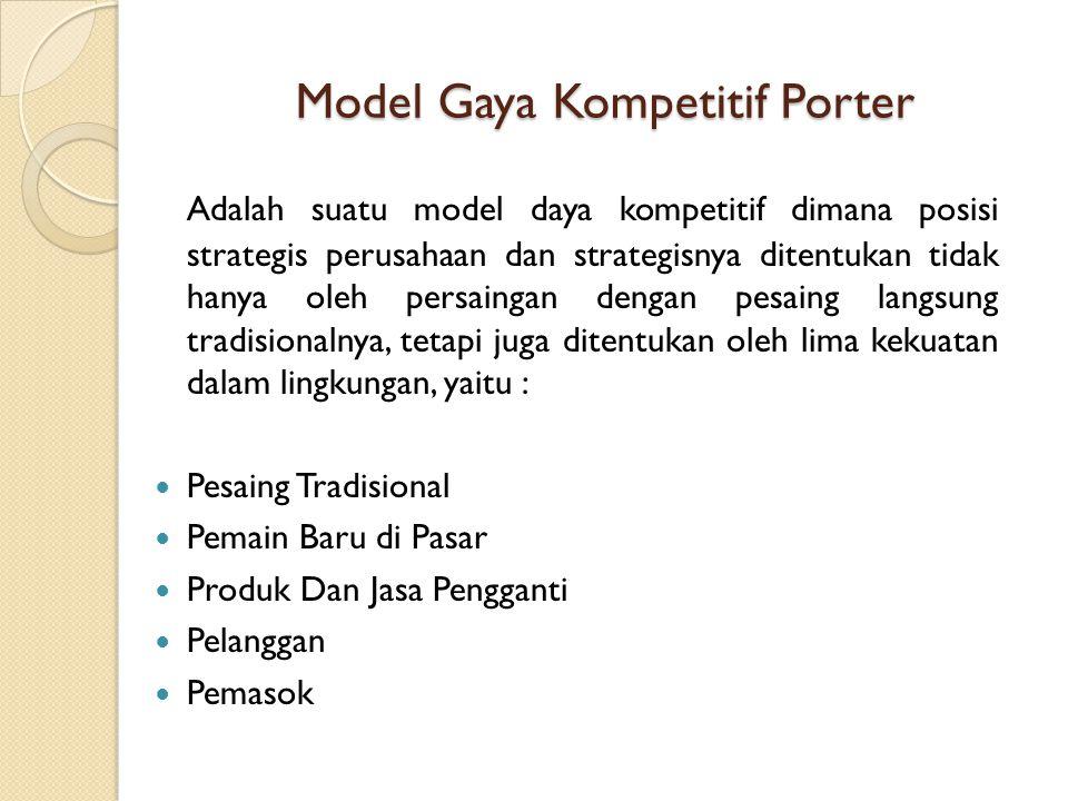 Model Gaya Kompetitif Porter Adalah suatu model daya kompetitif dimana posisi strategis perusahaan dan strategisnya ditentukan tidak hanya oleh persai