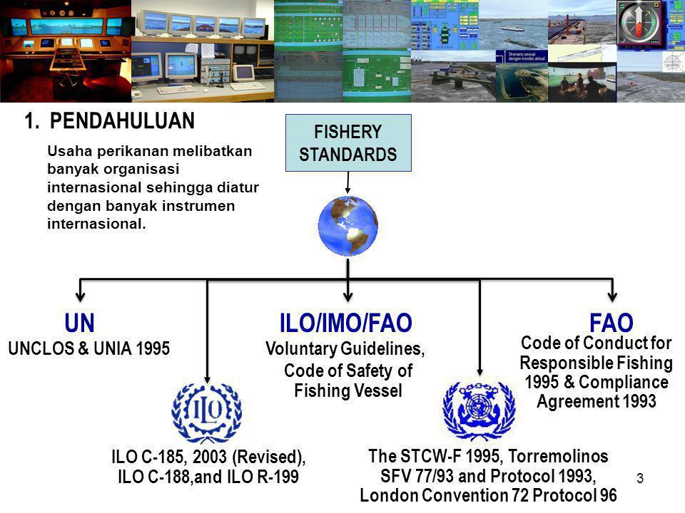 3 FISHERY STANDARDS ILO C-185, 2003 (Revised), ILO C-188,and ILO R-199 The STCW-F 1995, Torremolinos SFV 77/93 and Protocol 1993, London Convention 72