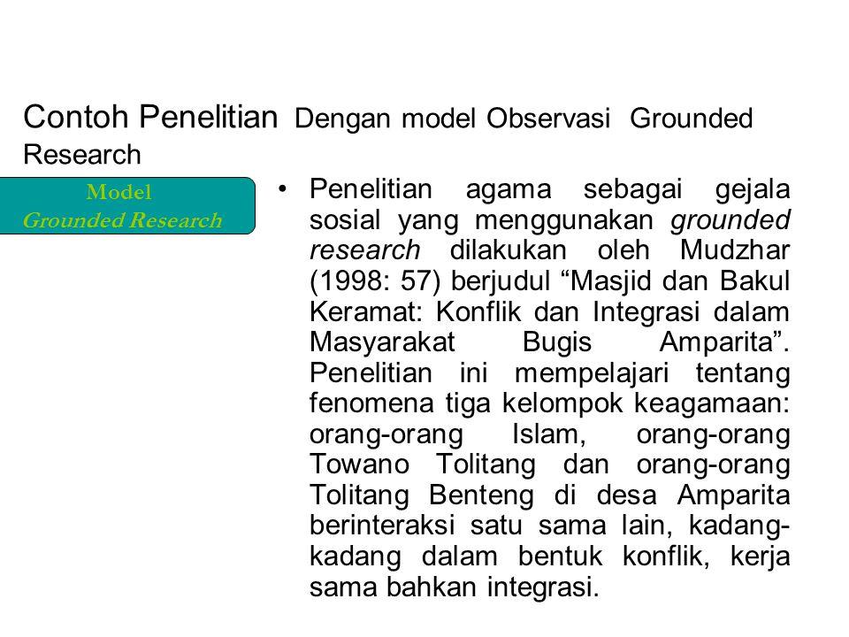 Contoh Penelitian Dengan model Observasi Grounded Research Penelitian agama sebagai gejala sosial yang menggunakan grounded research dilakukan oleh Mudzhar (1998: 57) berjudul Masjid dan Bakul Keramat: Konflik dan Integrasi dalam Masyarakat Bugis Amparita .