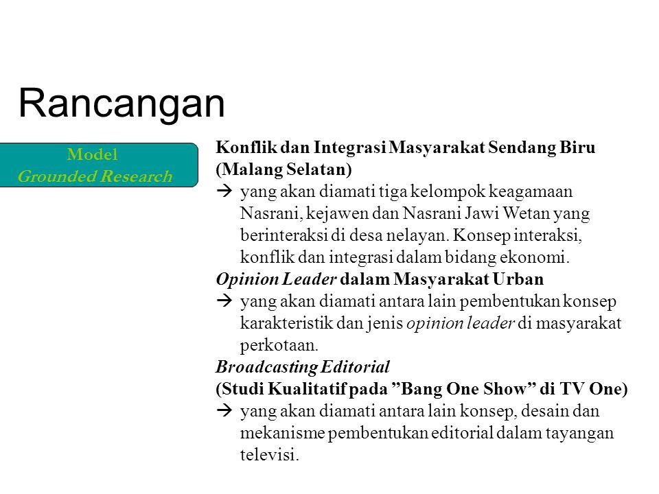 Konflik dan Integrasi Masyarakat Sendang Biru (Malang Selatan)  yang akan diamati tiga kelompok keagamaan Nasrani, kejawen dan Nasrani Jawi Wetan yang berinteraksi di desa nelayan.
