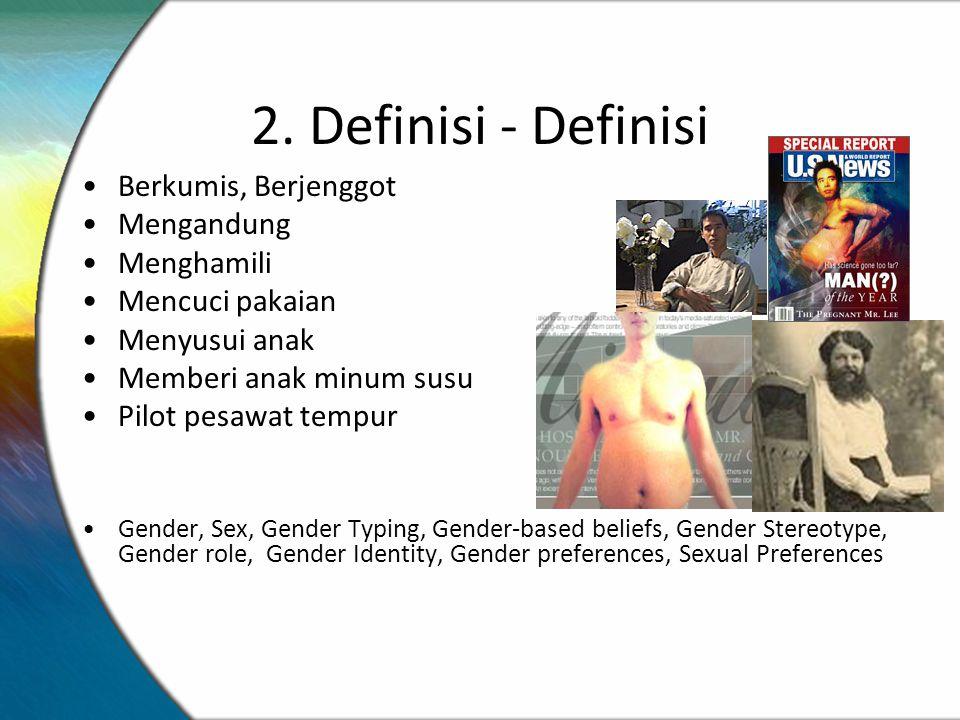 2. Definisi - Definisi Berkumis, Berjenggot Mengandung Menghamili Mencuci pakaian Menyusui anak Memberi anak minum susu Pilot pesawat tempur Gender, S