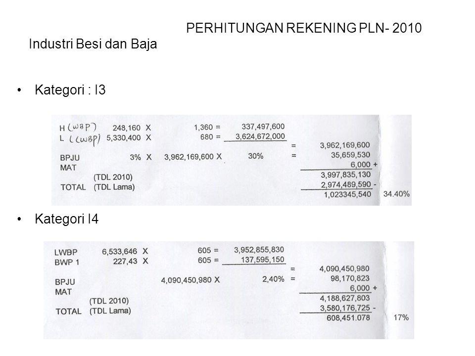 PERHITUNGAN REKENING PLN- 2010 Industri Besi dan Baja Kategori : I3 Kategori I4