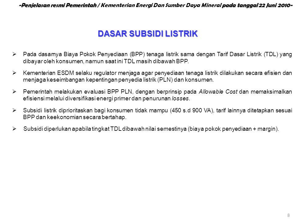  Pada dasarnya Biaya Pokok Penyediaan (BPP) tenaga listrik sama dengan Tarif Dasar Listrik (TDL) yang dibayar oleh konsumen, namun saat ini TDL masih