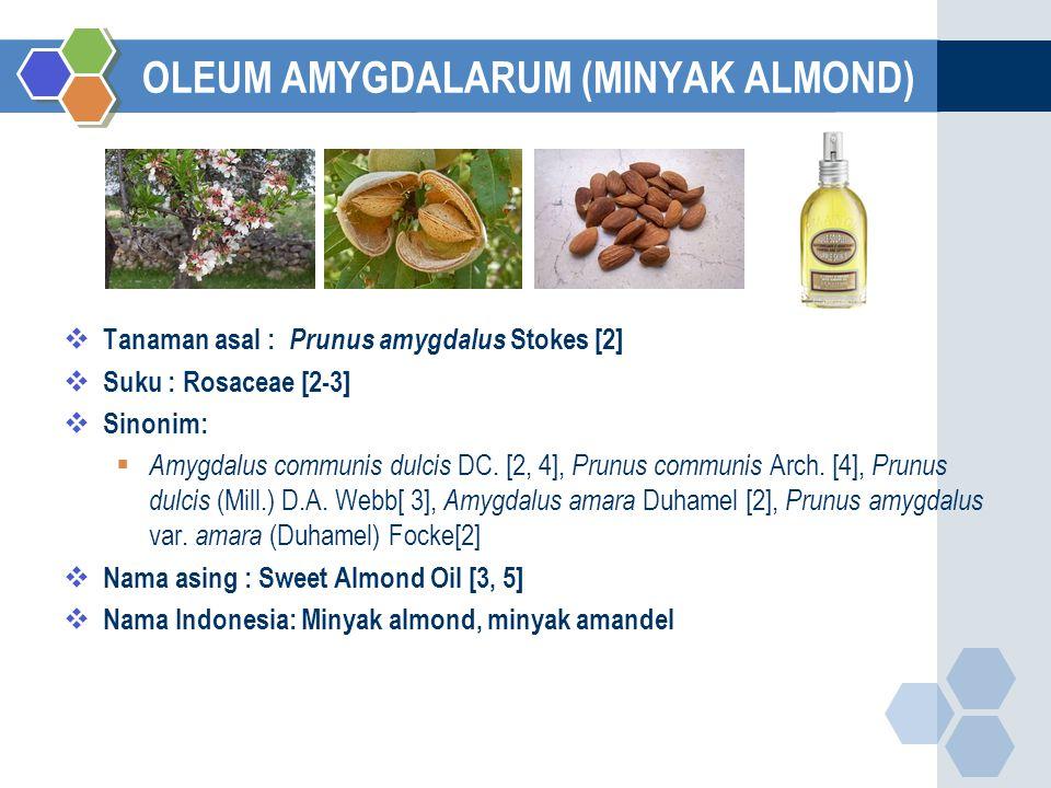 OLEUM AMYGDALARUM (MINYAK ALMOND)  Tanaman asal : Prunus amygdalus Stokes [2]  Suku : Rosaceae [2-3]  Sinonim:  Amygdalus communis dulcis DC.