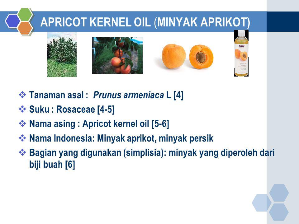APRICOT KERNEL OIL ( MINYAK APRIKOT)  Tanaman asal : Prunus armeniaca L [4]  Suku : Rosaceae [4-5]  Nama asing : Apricot kernel oil [5-6]  Nama Indonesia: Minyak aprikot, minyak persik  Bagian yang digunakan (simplisia): minyak yang diperoleh dari biji buah [6]