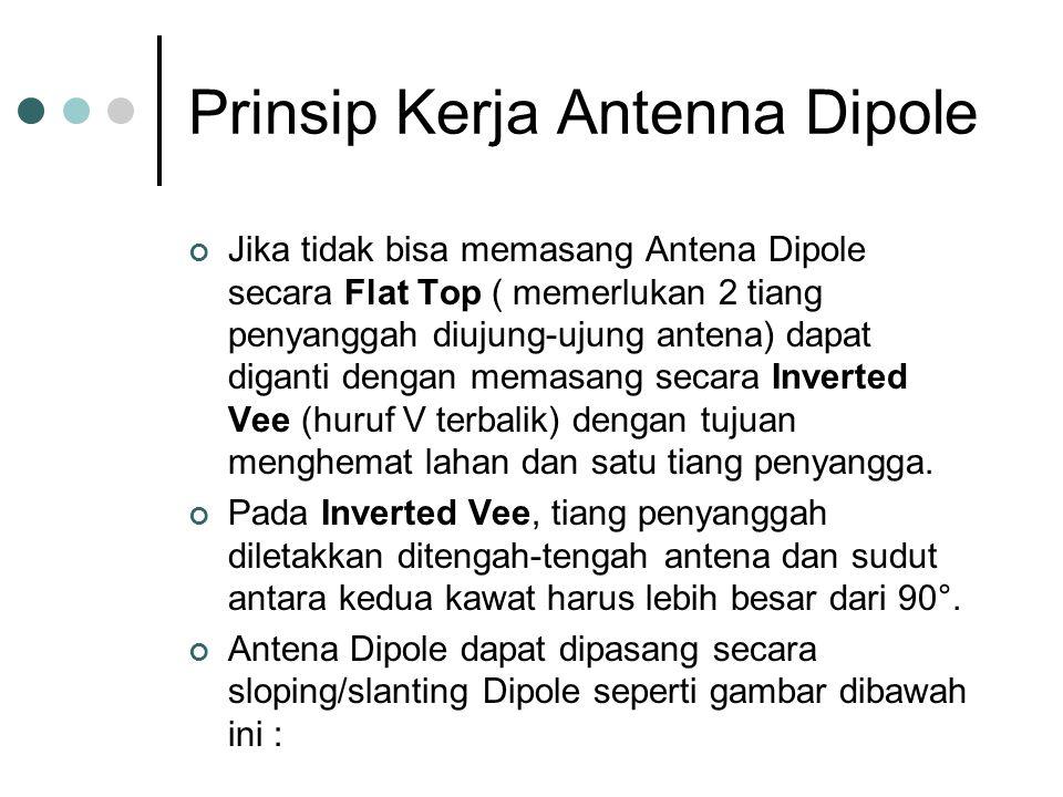 Prinsip Kerja Antenna Dipole Jika tidak bisa memasang Antena Dipole secara Flat Top ( memerlukan 2 tiang penyanggah diujung-ujung antena) dapat diganti dengan memasang secara Inverted Vee (huruf V terbalik) dengan tujuan menghemat lahan dan satu tiang penyangga.