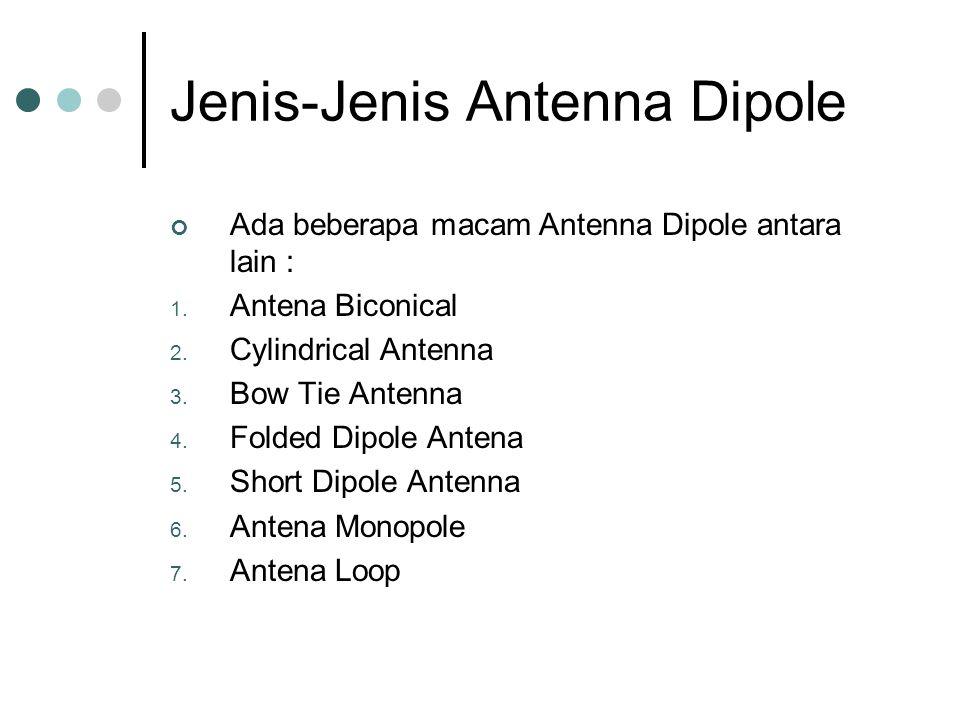 Jenis-Jenis Antenna Dipole Ada beberapa macam Antenna Dipole antara lain : 1. Antena Biconical 2. Cylindrical Antenna 3. Bow Tie Antenna 4. Folded Dip