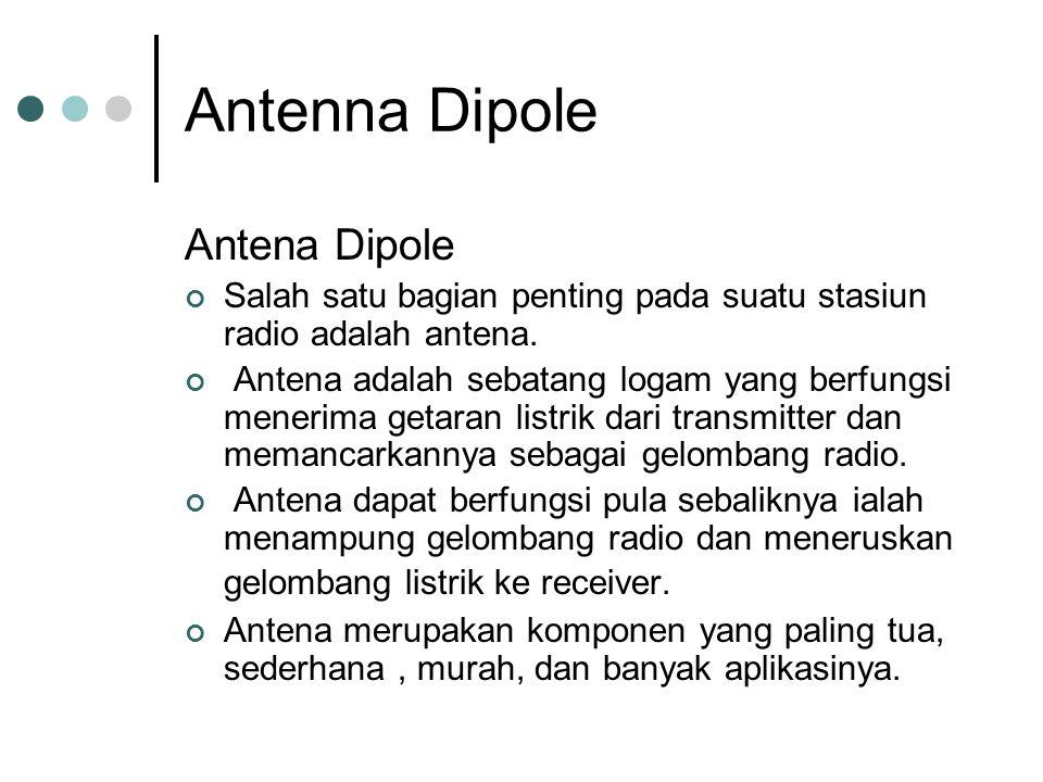 Antenna Dipole Antena Dipole Salah satu bagian penting pada suatu stasiun radio adalah antena. Antena adalah sebatang logam yang berfungsi menerima ge