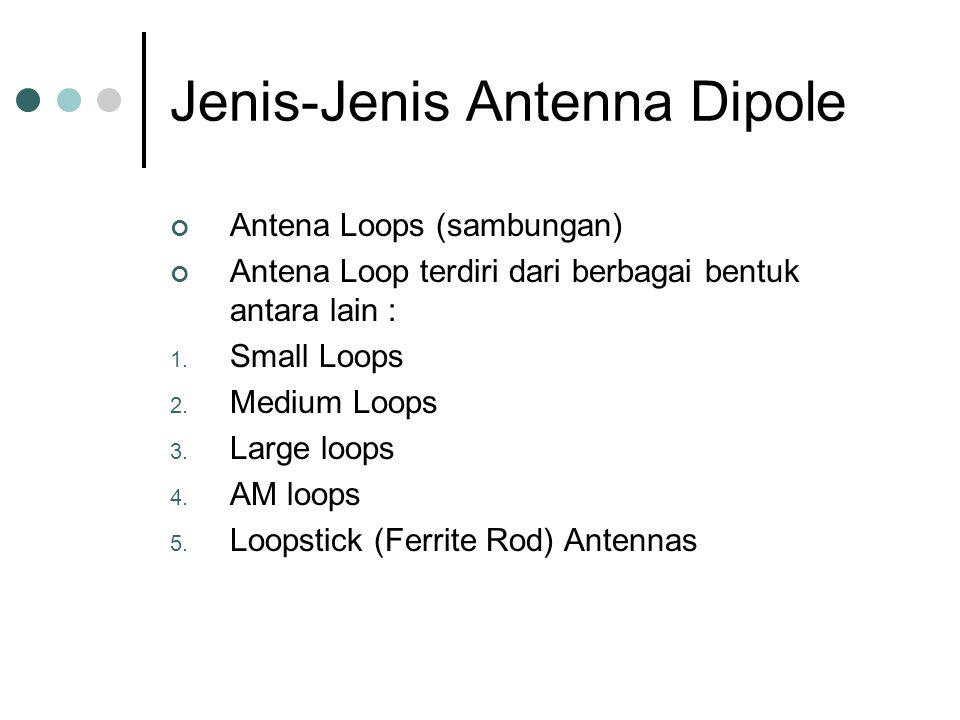 Jenis-Jenis Antenna Dipole Antena Loops (sambungan) Antena Loop terdiri dari berbagai bentuk antara lain : 1. Small Loops 2. Medium Loops 3. Large loo