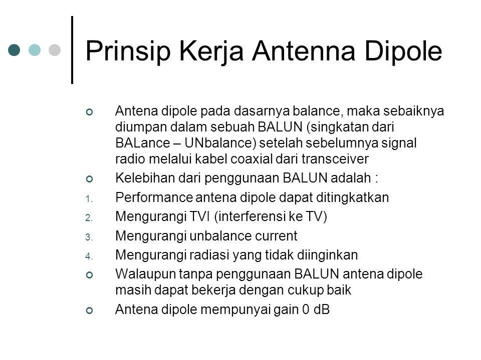 Prinsip Kerja Antenna Dipole Antena dipole pada dasarnya balance, maka sebaiknya diumpan dalam sebuah BALUN (singkatan dari BALance – UNbalance) setelah sebelumnya signal radio melalui kabel coaxial dari transceiver Kelebihan dari penggunaan BALUN adalah : 1.