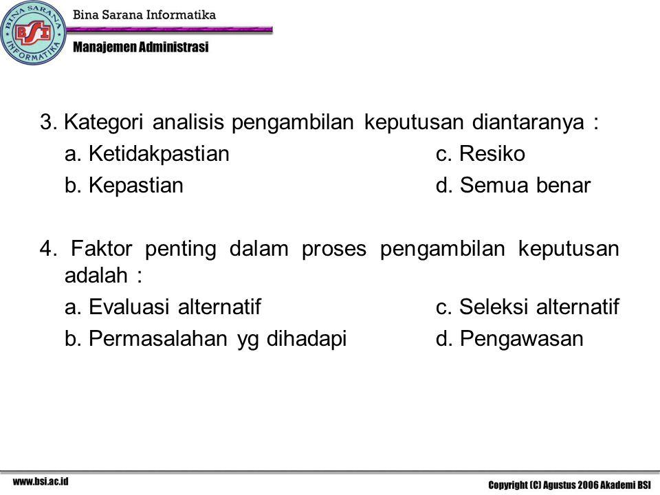 3. Kategori analisis pengambilan keputusan diantaranya : a. Ketidakpastianc. Resiko b. Kepastiand. Semua benar 4. Faktor penting dalam proses pengambi