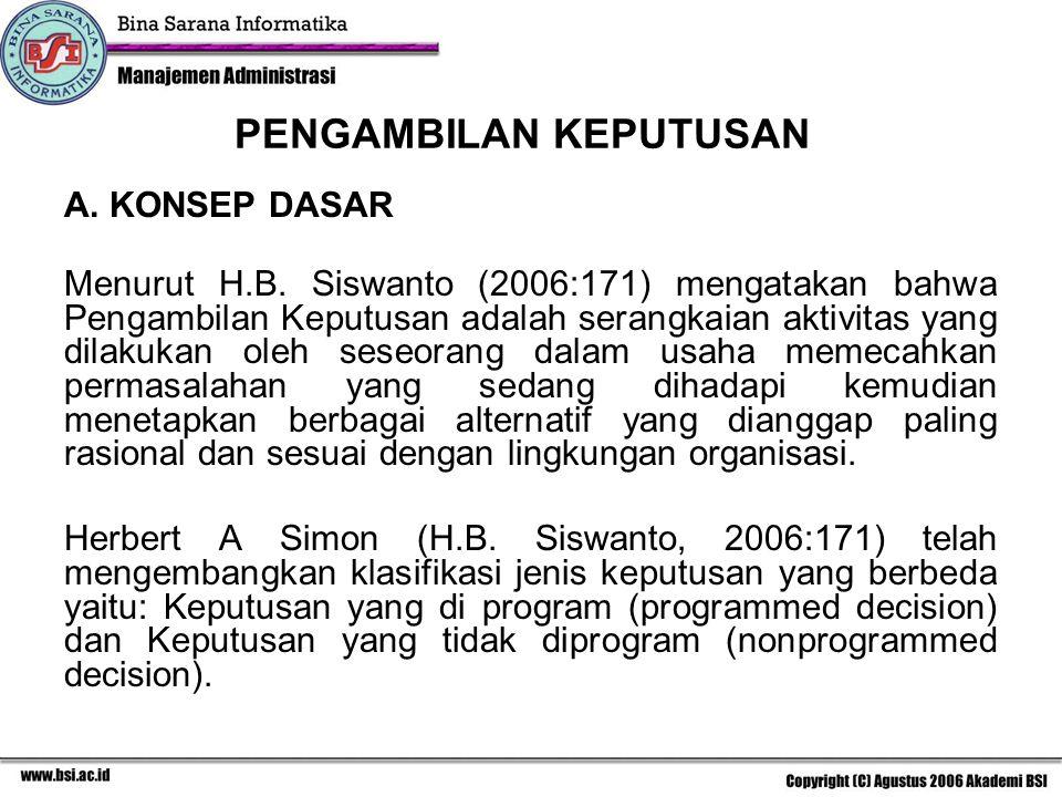 A. KONSEP DASAR Menurut H.B. Siswanto (2006:171) mengatakan bahwa Pengambilan Keputusan adalah serangkaian aktivitas yang dilakukan oleh seseorang dal