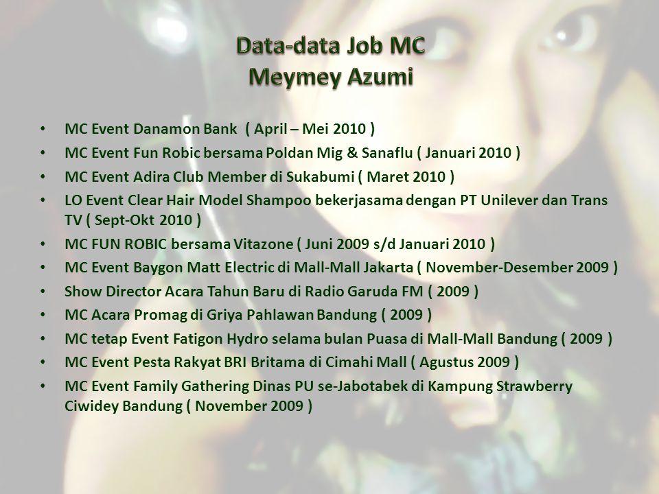 MC Event Danamon Bank ( April – Mei 2010 ) MC Event Fun Robic bersama Poldan Mig & Sanaflu ( Januari 2010 ) MC Event Adira Club Member di Sukabumi ( M