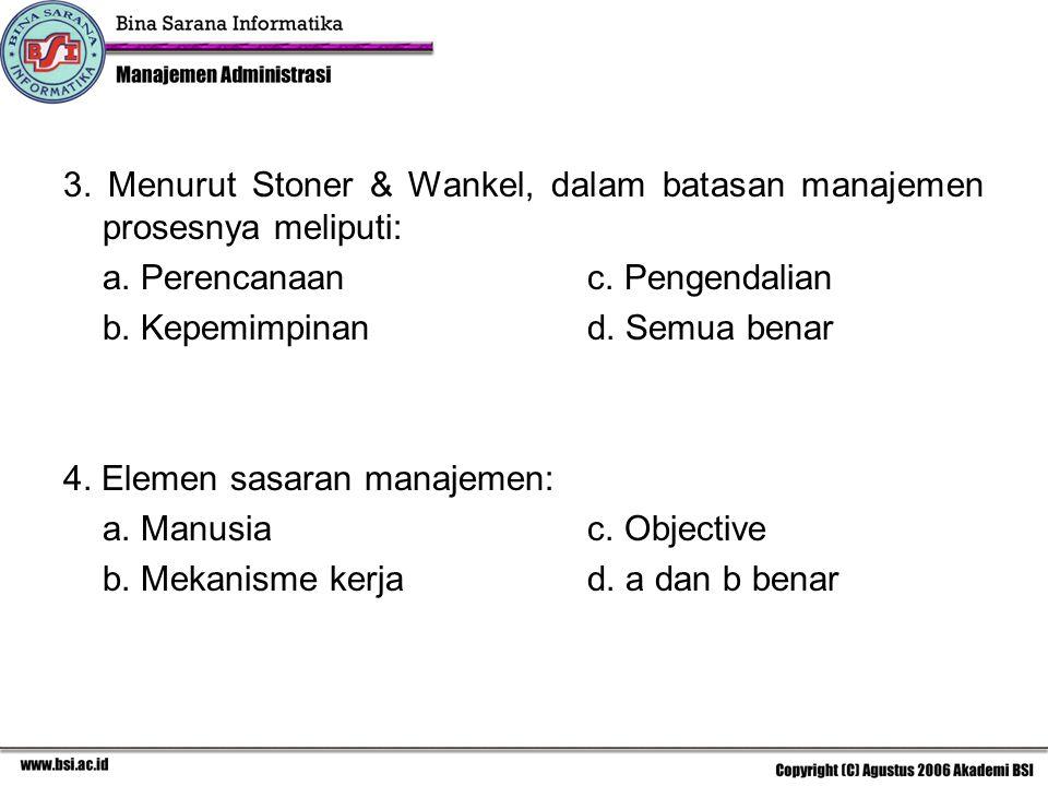 3. Menurut Stoner & Wankel, dalam batasan manajemen prosesnya meliputi: a. Perencanaanc. Pengendalian b. Kepemimpinand. Semua benar 4. Elemen sasaran