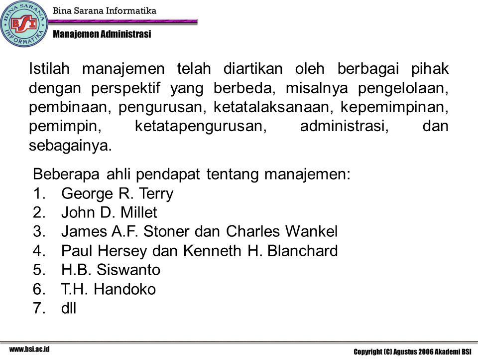 Istilah manajemen telah diartikan oleh berbagai pihak dengan perspektif yang berbeda, misalnya pengelolaan, pembinaan, pengurusan, ketatalaksanaan, ke