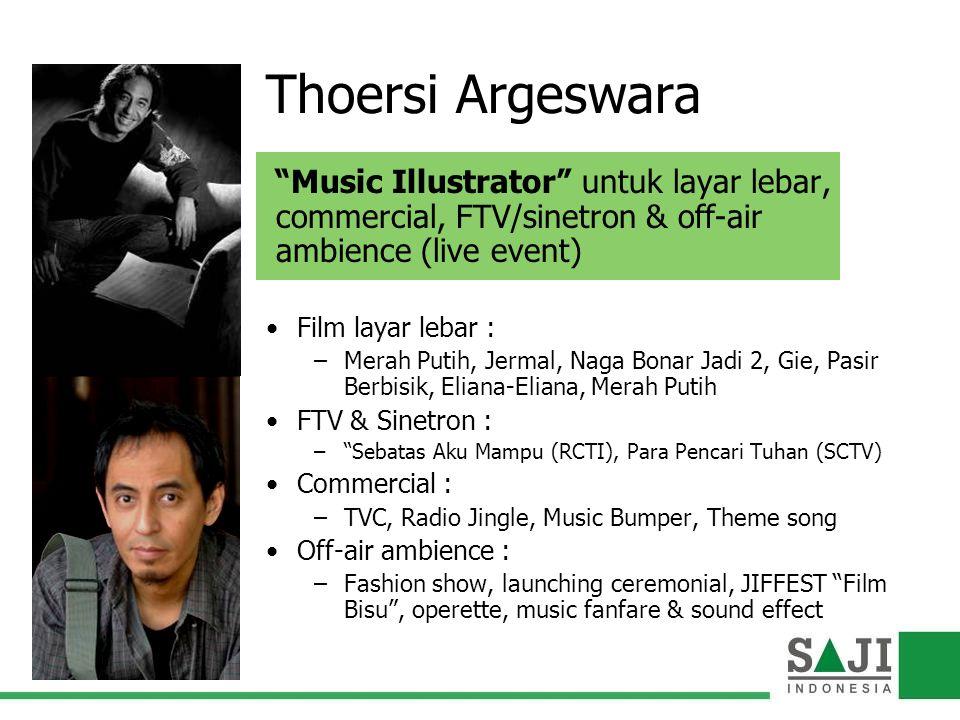 "Thoersi Argeswara ""Music Illustrator"" untuk layar lebar, commercial, FTV/sinetron & off-air ambience (live event) Film layar lebar : –Merah Putih, Jer"