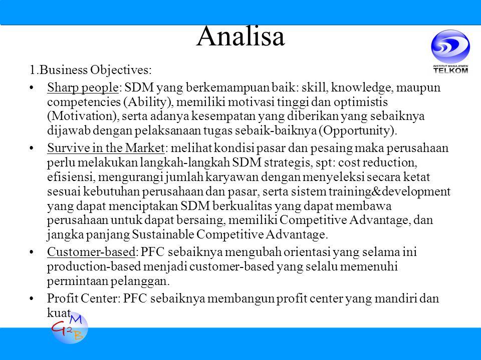G2G2 M B Analisa 1.Business Objectives: Sharp people: SDM yang berkemampuan baik: skill, knowledge, maupun competencies (Ability), memiliki motivasi tinggi dan optimistis (Motivation), serta adanya kesempatan yang diberikan yang sebaiknya dijawab dengan pelaksanaan tugas sebaik-baiknya (Opportunity).