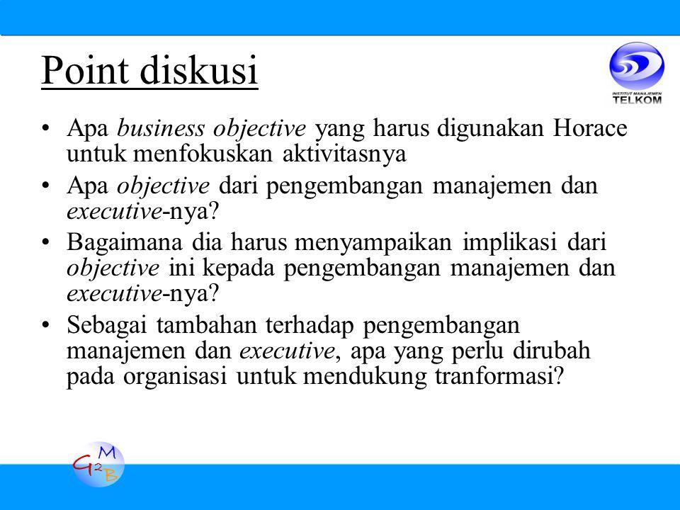 G2G2 M B Apa business objective yang harus digunakan Horace untuk menfokuskan aktivitasnya Apa objective dari pengembangan manajemen dan executive-nya