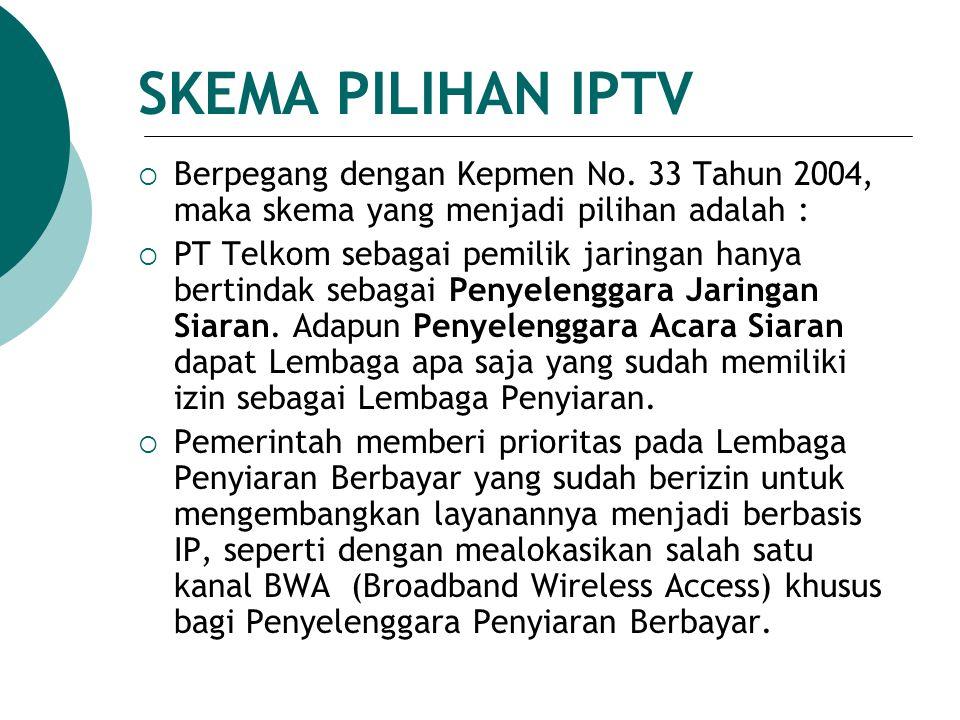  Berpegang dengan Kepmen No. 33 Tahun 2004, maka skema yang menjadi pilihan adalah :  PT Telkom sebagai pemilik jaringan hanya bertindak sebagai Pen