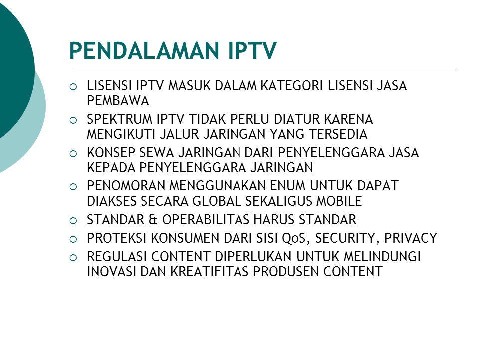 PENDALAMAN IPTV  LISENSI IPTV MASUK DALAM KATEGORI LISENSI JASA PEMBAWA  SPEKTRUM IPTV TIDAK PERLU DIATUR KARENA MENGIKUTI JALUR JARINGAN YANG TERSE