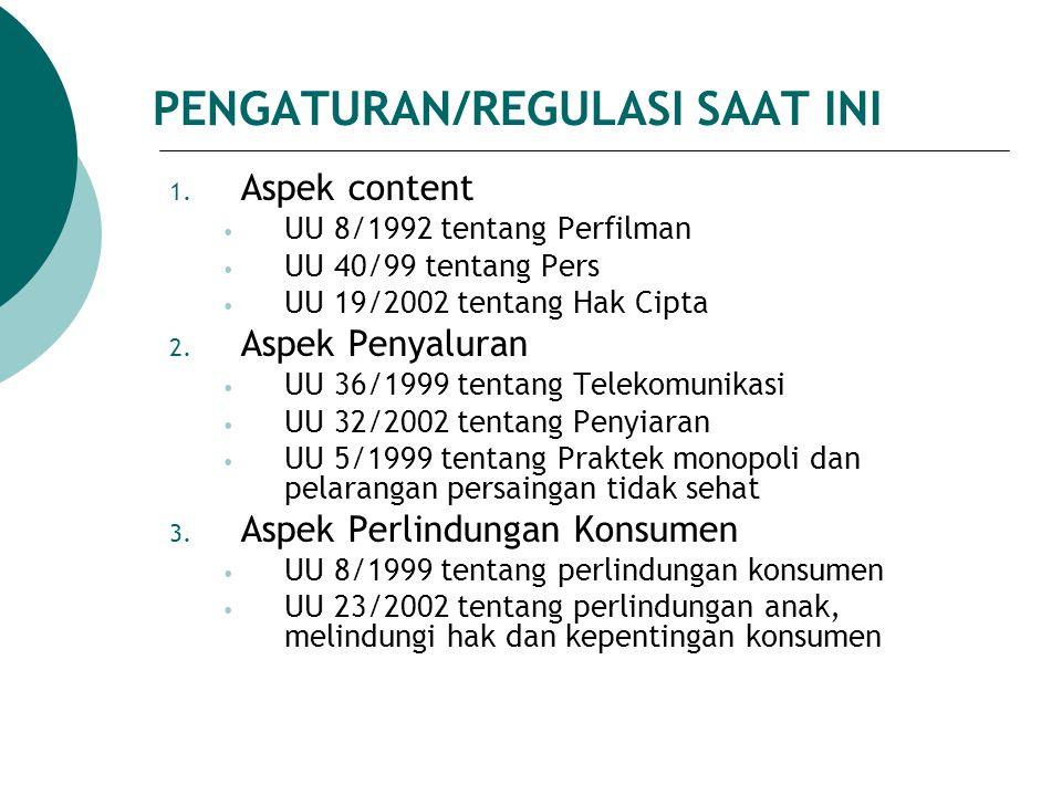 PENGATURAN/REGULASI SAAT INI 1. Aspek content UU 8/1992 tentang Perfilman UU 40/99 tentang Pers UU 19/2002 tentang Hak Cipta 2. Aspek Penyaluran UU 36