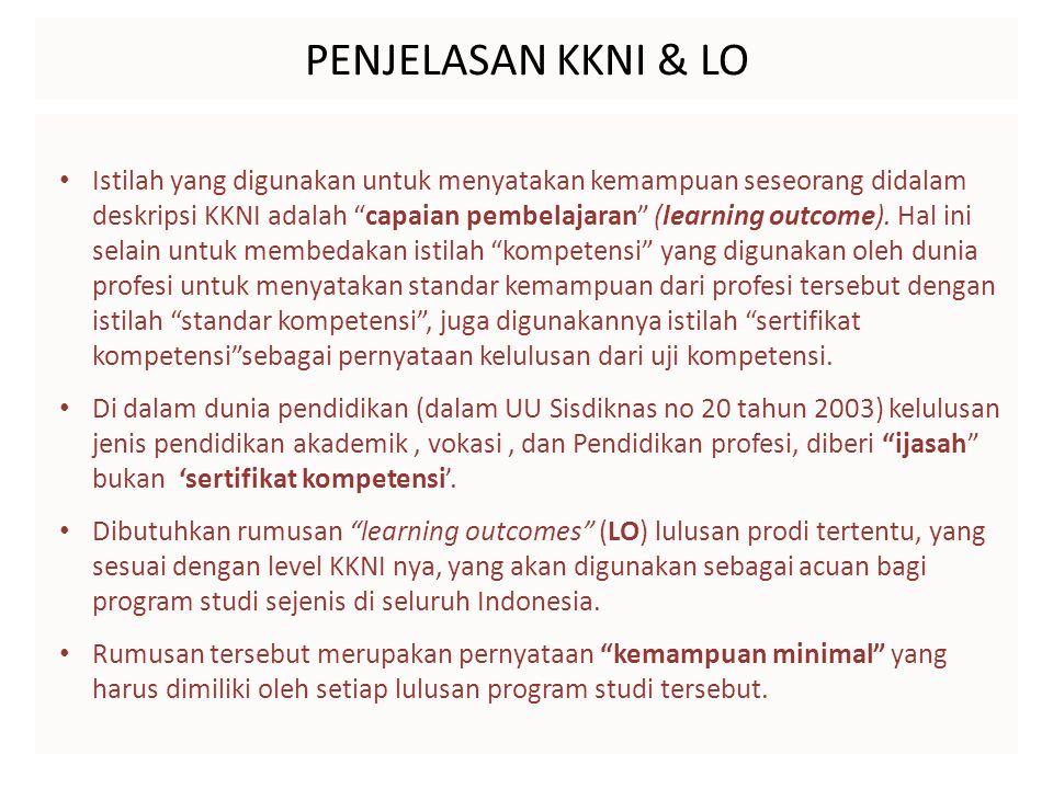 """PENJELASAN KKNI & LO Istilah yang digunakan untuk menyatakan kemampuan seseorang didalam deskripsi KKNI adalah """"capaian pembelajaran"""" (learning outcom"""
