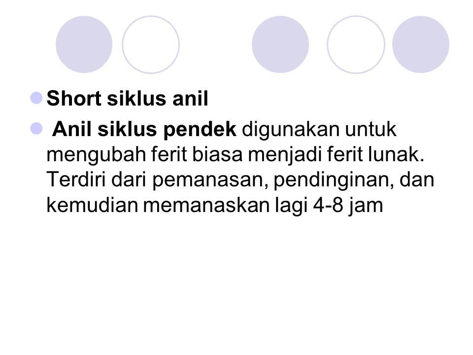 Short siklus anil Anil siklus pendek digunakan untuk mengubah ferit biasa menjadi ferit lunak. Terdiri dari pemanasan, pendinginan, dan kemudian meman